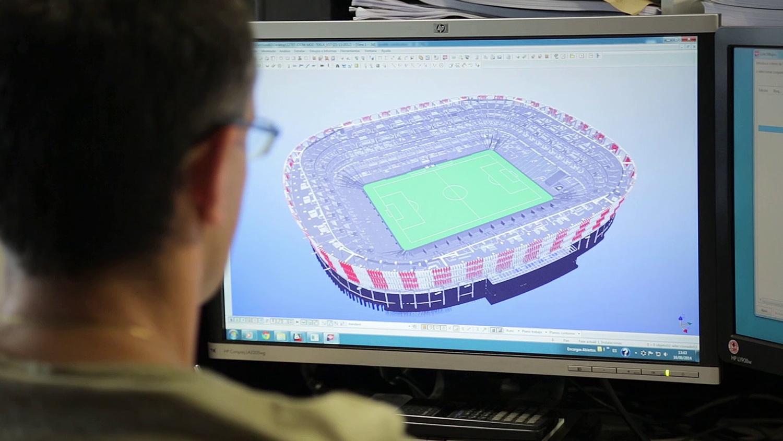 Render del estadio de fútbol de San Mamés en un video producido por Old Port Films para IDOM
